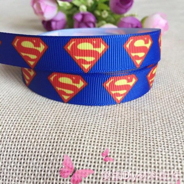 16 мм Новый Бесплатная доставка синий Супермен печатная корсажная лента hairbow поделки украшения партия оптовая