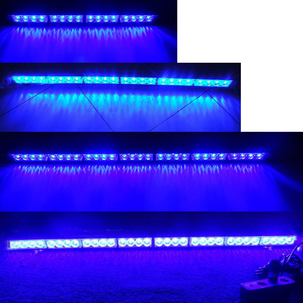 Голубой почвы Бэй 32 28 24 16 12 LED Аварийные Предупреждение светлая полоса движения советник строб лампы-вспышки синий мигающий 31.5 27 22 18