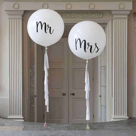 1pcs/lot Good Quality 36inch Round White Print Mr&Mrs Latex Balloons Happy Wedding Valentine's Day Event Air Globos Supplies