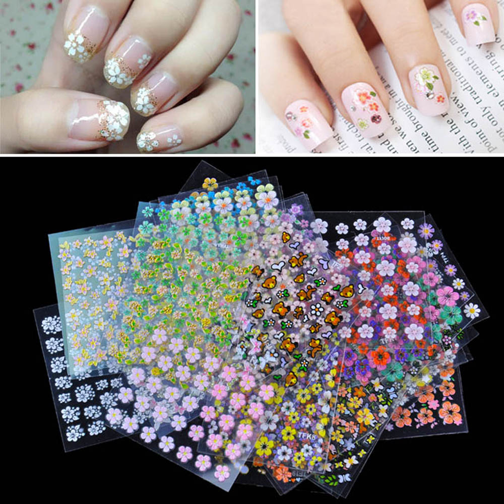 Nail Art Stickers: Beauty 30 Sheet 3D Floral Design Sticker For Nails Mix
