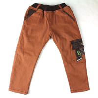 Winter Boys Pants Warm Thicken Plus Velvet Kid Trousers Embroidered Fleece Inner Carton Pattern Pants ZQ