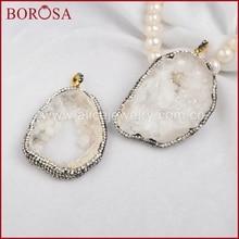 Freeform Raw Druzy Crystal Quartz Slice Pendant With Crystal Rhinestone Pave Zircon Fashion Jewelry JAB219 n091808 18 29 7 strands pearl necklace quartz druzy pendant