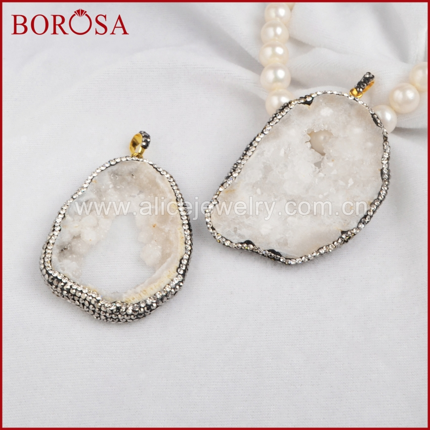 BOROSA Freeform <font><b>Raw</b></font> Druzy <font><b>Crystal</b></font> Quartz Slice <font><b>Pendant</b></font> With <font><b>Crystal</b></font> Rhinestone Pave Zircon Fashion Jewelry JAB219 image
