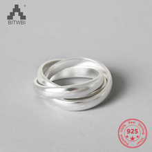 S990 Sterling Silver Rings For Women High Quality Matte Three Circles Silver Rings Jewelry matte silver