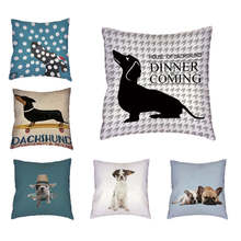 Throw Pillow Case Stylish Colorful Dog Corgi Bulldog Letter 45x45Cm Square Letter Dachshund Oficina En Casa Sofá Decoración Cojín