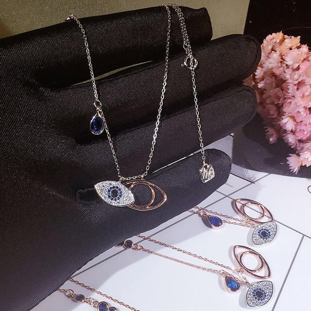 S925 Sterling Silver New Evil Eye Color Eye Necklace Fashion micro inlay blue  chain female clavicle