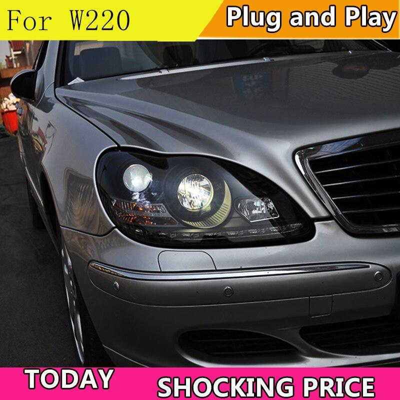 Car Styling LED Head Lamp For Mercedes Benz GLK W208 C63 C200 C230 C280 C300 1997 2003 Year LED Head Light with Angel Eyes