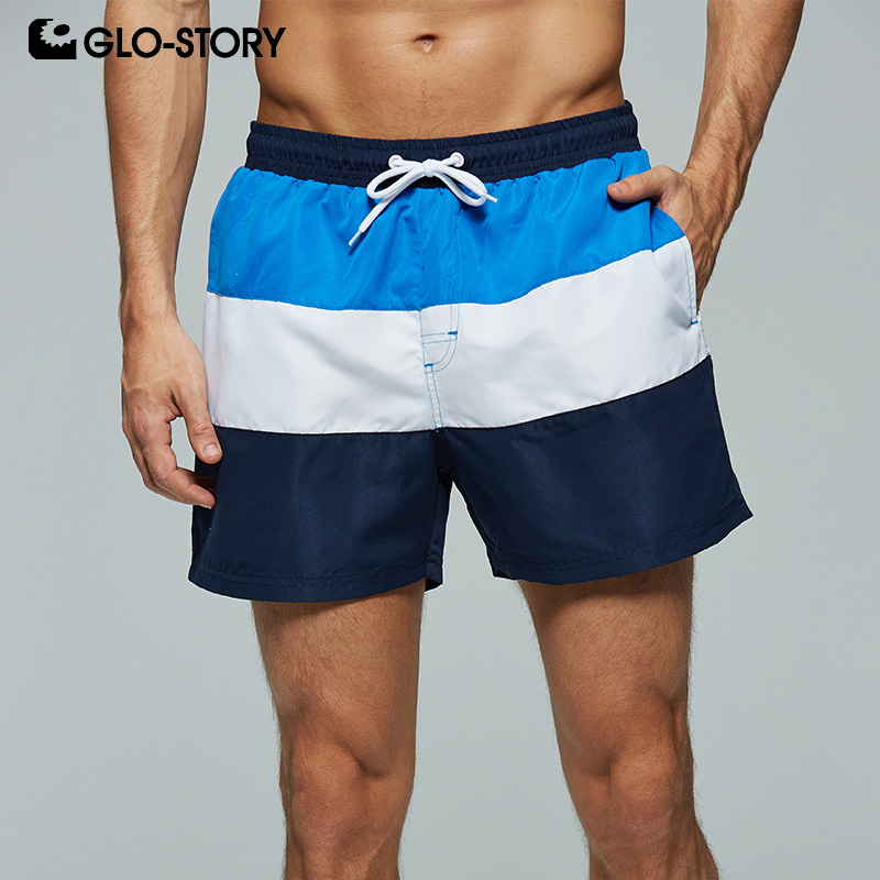 GLO STORY Men's 2019 Basic Striped Patchwork Beach Surf Short Men Casual Holiday Board Shorts MTK 7776
