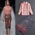Alta Calidad 2016 Primavera Y el Verano Nueva Moda Oreja de Madera Cómoda Camisa de Algodón + Cadera del Paquete de Impresión Traje de Falda de Las Mujeres