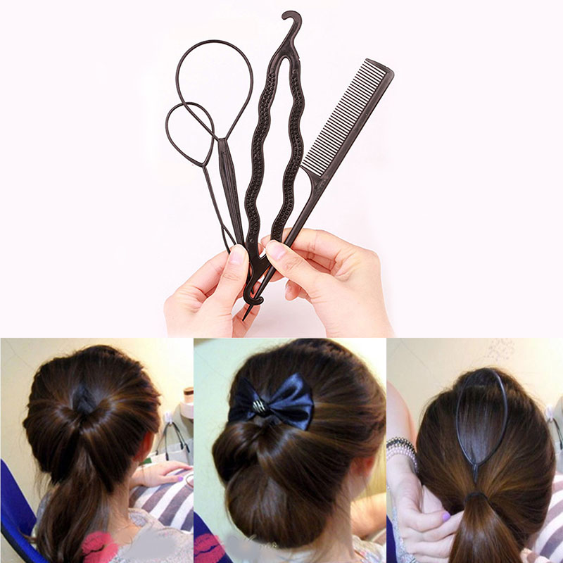 4pcs/set Hair Styling Tool Women Hair Brush Twist Styling Clip Braid Maker Tool Hair Accessories Braider DIY Hairstyle Инструмент