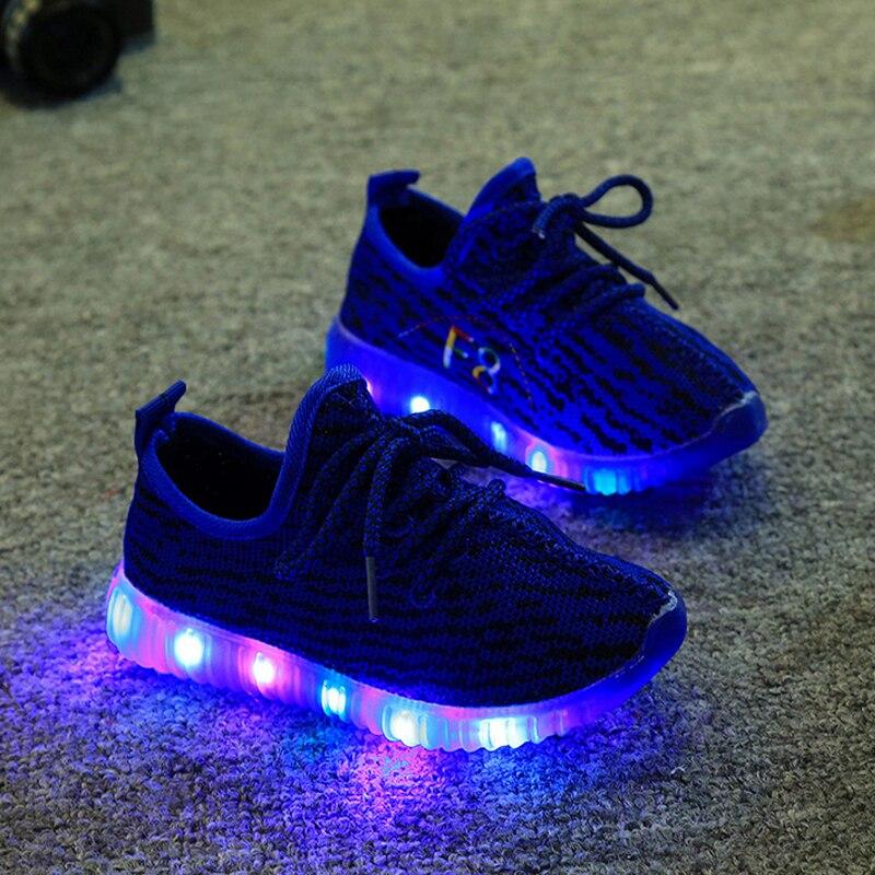 Işık Ile 2016 Bahar Bebek Erkek Kız çocuklar Ayakkabı Ayakkabı Chaussure Led Enfant Çocuk Moda Nefes Erkek Sneakers Boyutu 21-35