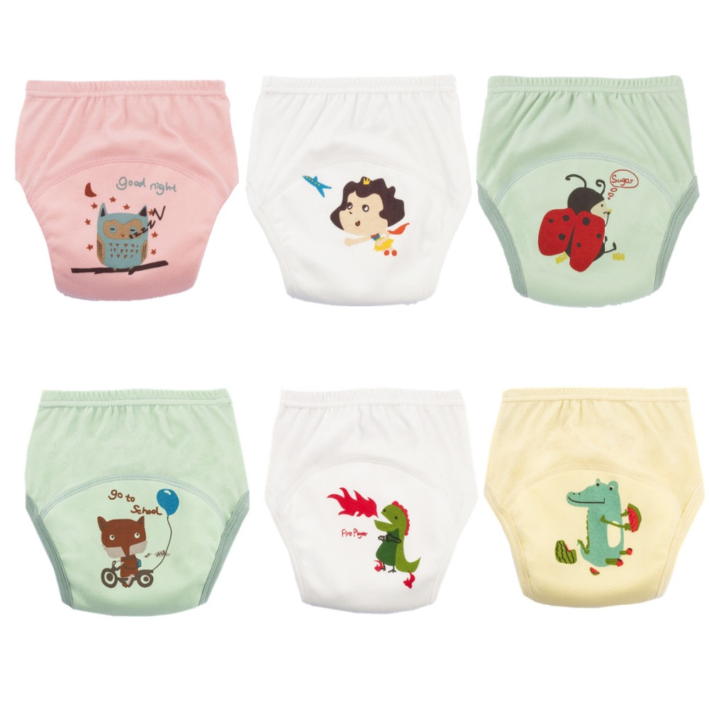 Washable Baby Training Panties Baby Cloth Diaper Cover Waterproof Cartoon Baby Diapers Reusable Cloth Nappy Suit for 6 to 22kg [mumsbest] 3pcs washable waterproof baby nappy pul suit 3 15kgs adjustable boy diaper covers car print design cloth diaper cover