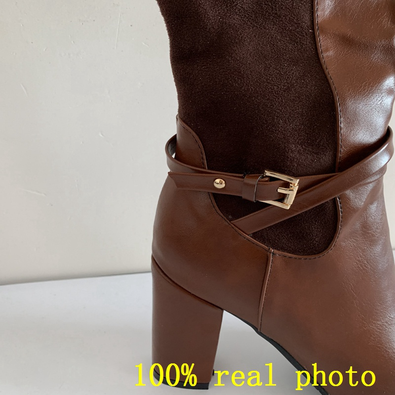 REAVE CAT Women knee-high boots Stretch Back Winter warm Round toe Fashion botas Quality footwear shoes Zipper Thick Heel  A956