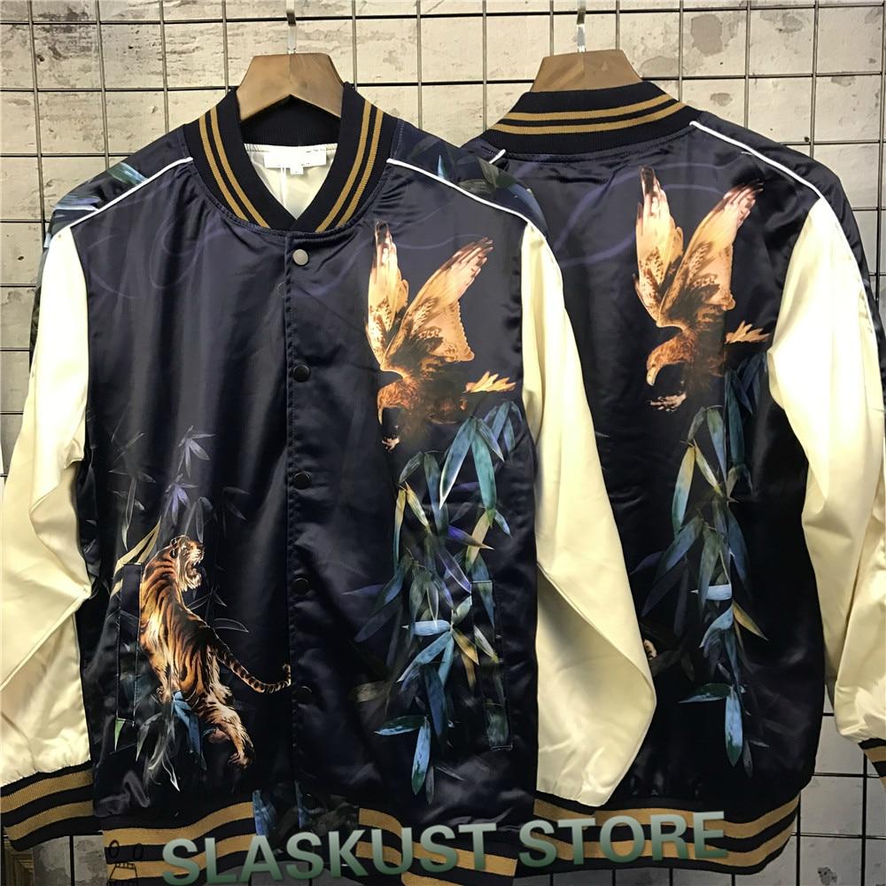 Eagle&Tiger Printing Designer Bomber Jacket Kpop Rockstar Stage Uniform Mens 2017 New Satin Fabrics Stand Collar Varsity Jackets