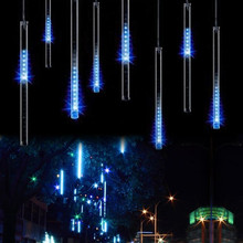 EU plug  8 tubes Rain Drop/Icicle Snow Fall String LED Christmas tree decoration Cascading Meteor Light Decoration