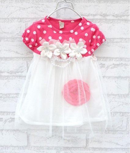 Summer Baby Girls Dress Kids Short Sleeve Dot Floral Print Crew Neck Tulle Lace Dress