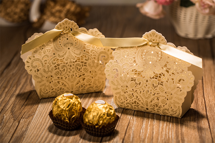 25 Pieces Lot Wedding Decorations White Red And Light Gold Color Lace Hollow Candy Box Gift For Favors In Bags Wrapping Supplies From