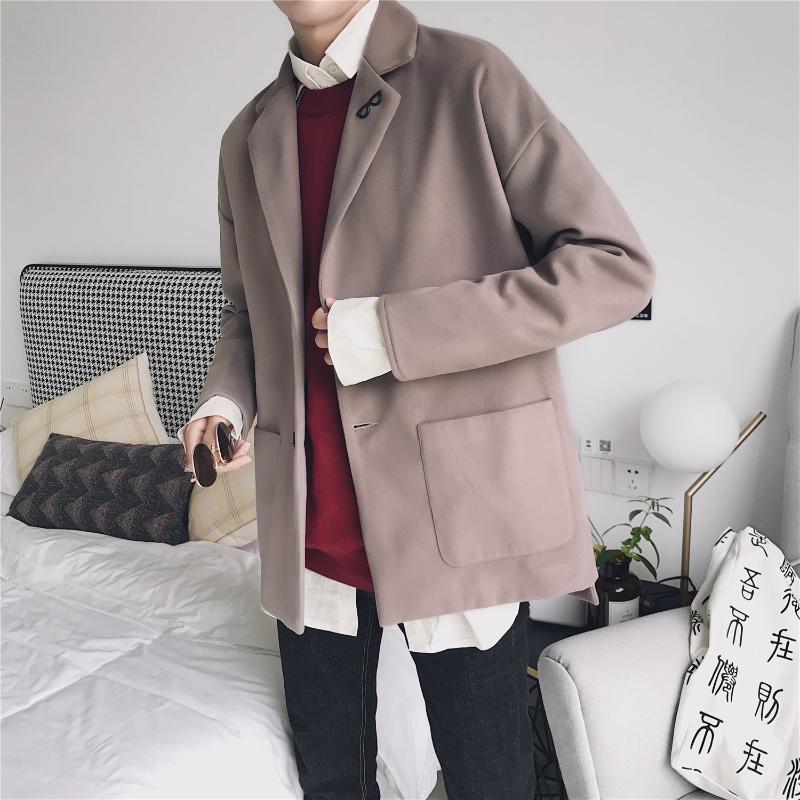 Ropa tejidos moda lana de gris negro ¡abrigo tendencias corto chaquetas  verde juvenil para hombres 8fe4883d3303