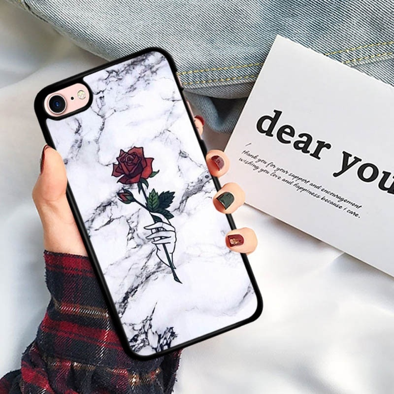 Rose Flower Pattern Fashion Phone Cover For iPhone 5S SE 6 6S Plus XR XS Max Silicon Soft TPU Case For iPhone 5 X 7 8 Plus