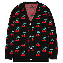 Chic womens knitted coat 2019 autumn embroidered cherry sweaters cardigans A516