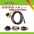 1.5 М Полный HD1080p HDMI to VGA + 3 RCA кабель AV Конвертер и Адаптер для HDTV, Бесплатная доставка + Droppshipping