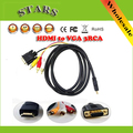 1.5M Full HD1080p HDMI to VGA+3 RCA AV cable Converter &Adapter for HDTV,Wholesale Free Shipping+Droppshipping