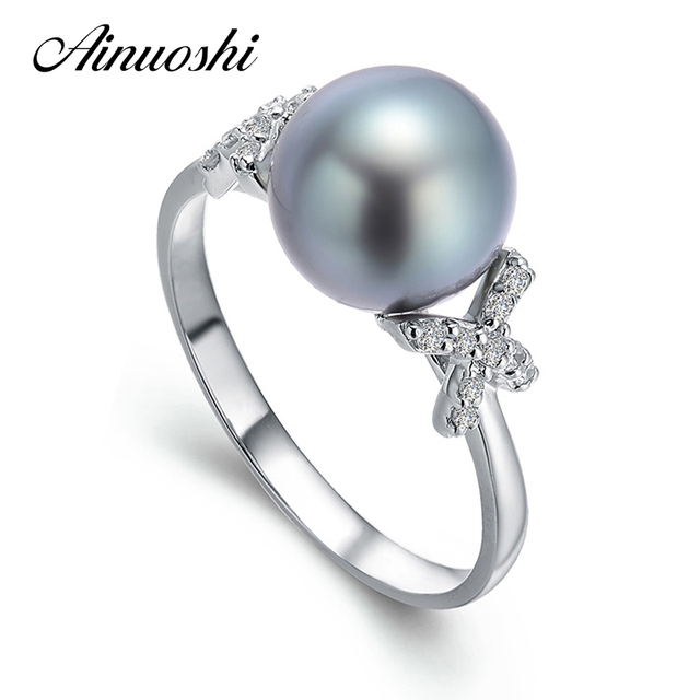 AINUOSHI 10mm Black Tahitian Pearl Ring 925 Sterling Silver Round Pearl Ring Engagement Trendy Silver Women Anniversary Jewelry