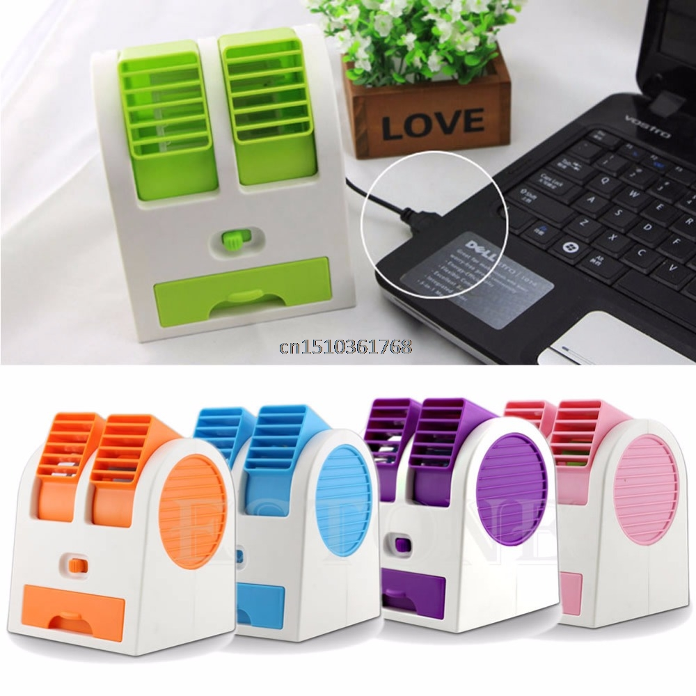 Mini USB Small Fan Cooling Portable Desktop Dual Bladeless Air Conditioner Y05 C05