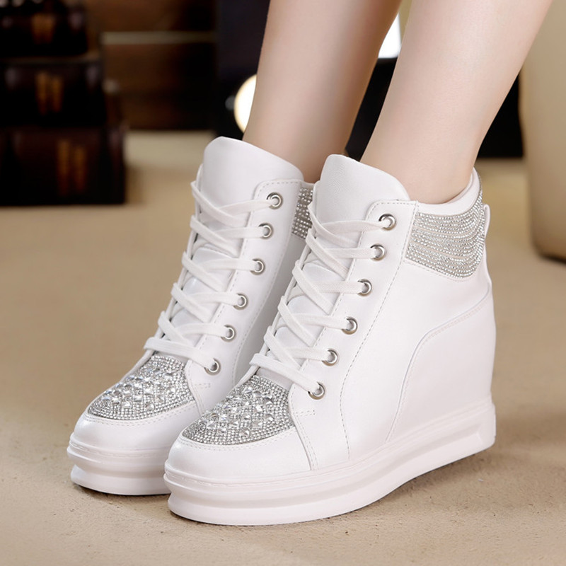 High Top White Shoes Woman Platform Rhinestone Female Fashion Casual Shoes Wedge Heel 2018 New Lady Leisure Sneakers Woman Shoe