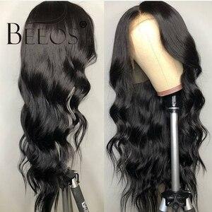 Image 4 - Beeos onda do corpo 360 laço frontal peruca brasileira remy perucas de cabelo humano 180% com o cabelo do bebê para as mulheres pré arrancadas nós descorados