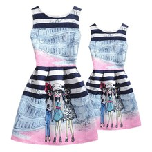 Family Clothing Mother Baughter Dresses Matching Outfits Printing mom and daughter dress mae e filha mommy me Girls clothes