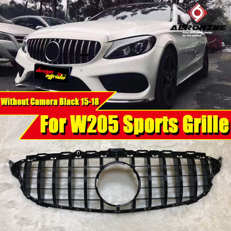 C63AMG GTS style Grille grill W205 C205 C Class Models without 360 Camera ABS Black Front grills  sign 15-18