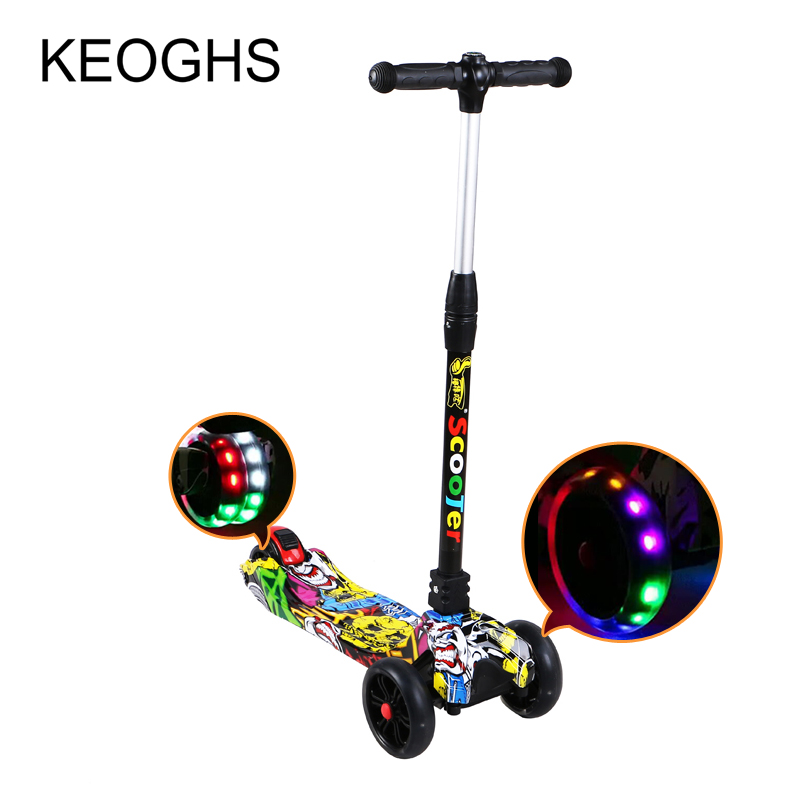 children scooter foldable PU 3wheels LED printing baby outdoor sport Bodybuilding 3-15 years old free shipping scooter children 2 15 years old max load 60kg