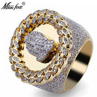 MISSFOX Hip Hop Christian Religious Prayer Gesture Pattern Men'S Ring Diamond Leaf Type Loop Dainty Ring Gold Big Men Jewelry