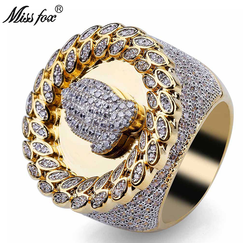 MISSFOX Hip Hop Christian Religious Prayer Gesture Pattern Men'S Ring Diamond Leaf Type Loop Dainty Ring Gold Big Men Jewelry image