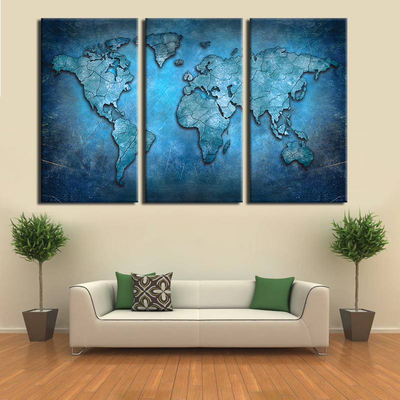 Beautiful New Arrival Modular Large Triptych Wall Art Canvas World Map Abstract Dark  Blue Global Lineament Print For Home And Office Wall In Painting U0026  Calligraphy ...
