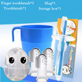 2016 Hot Toothbrush set Useful healthy Kids Baby Infant Soft 3pcs Silicone Finger+Toothbrush+Cup+box Teeth Rubber Massager Brush
