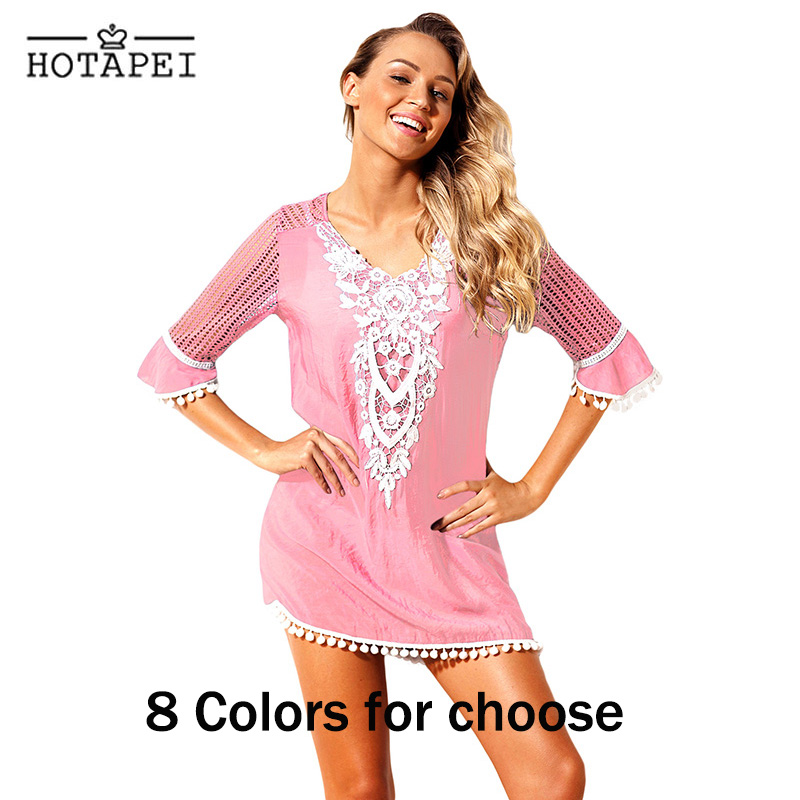 34175b49a1844 Hotapei Sexy Beach Tunic Pom Pom Tassel Hem Gauze Cover up mini dress  LC42231 women swim wear bathing suits Robe Plage beachwear-in Cover-Ups  from Sports ...