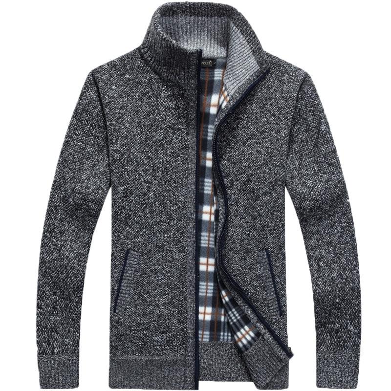 2019 New Sweater Men Autumn Winter SweaterCoats Male Thick Faux Fur Wool Mens Sweater Jackets Casual Zipper Knitwear Size M-3XL 2