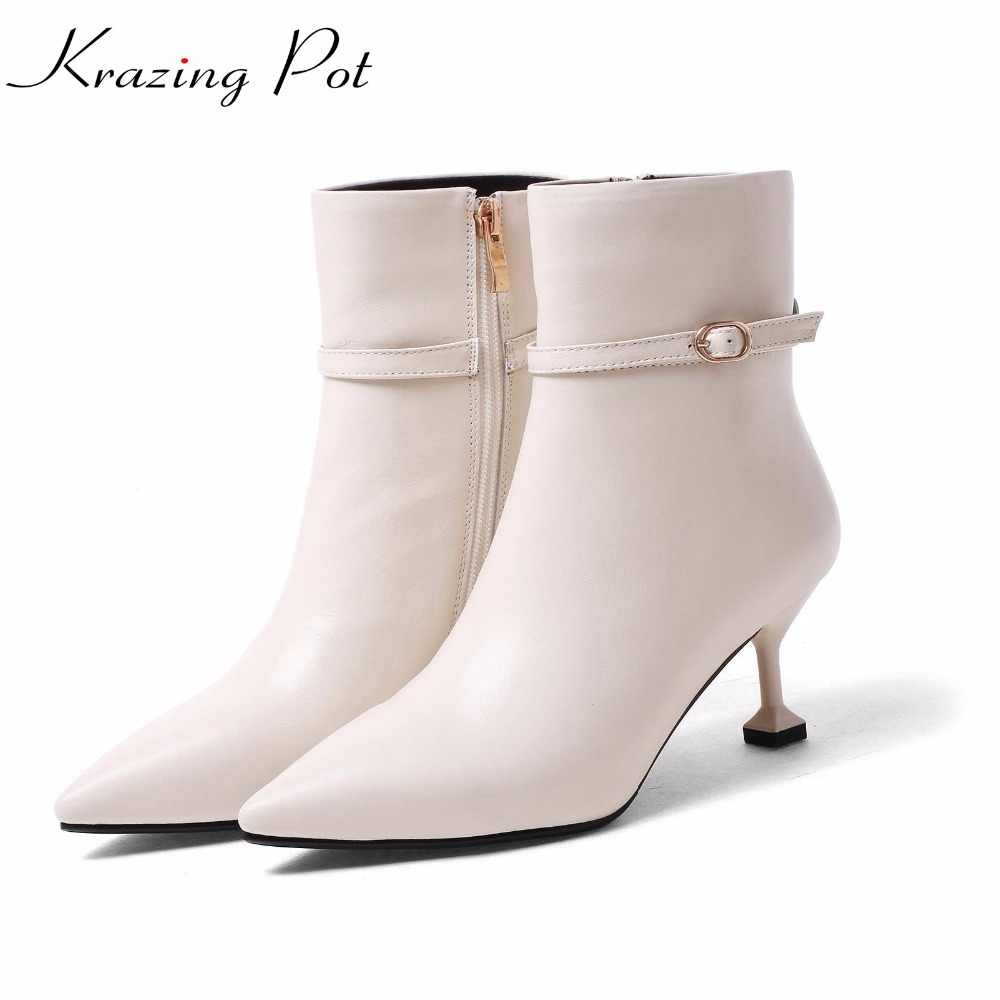 Krazing Pot new genuine leather stiletto thin high heels gladiator streetwear pointed toe mature metal buckle mid-calf boots L17 double buckle cross straps mid calf boots