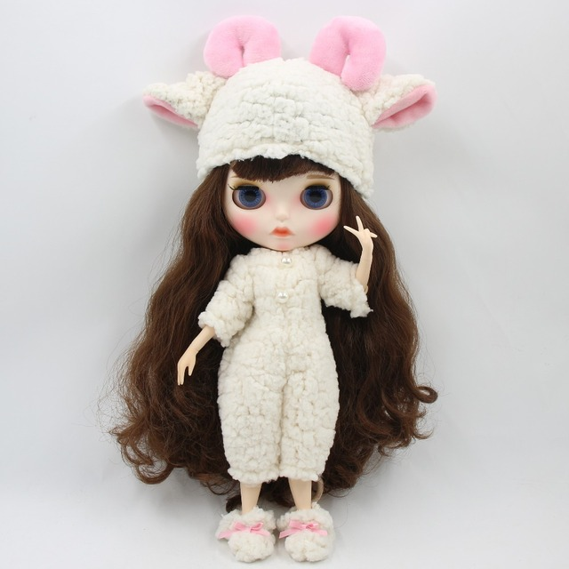 کت و شلوار گوسفند عروسک Neo Blythe با کلاه و کفش