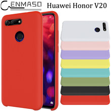 Honor V20 Case Soft Liquid Silicon Honor View 20 V 20 10 Lite 8C 8X 7X V10 10 Shockproof Case Huawei P Smart Plus Y9 2019 Cover(China)