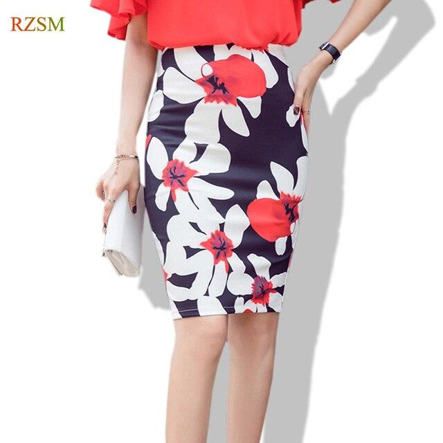 244778465afe0 Women Large Flowers Printed Knee Length Pencil Skirt 2018 New Fashion Sexy  Office Ladies Wrap Tube Skirt Saia Femininas Size 5XL