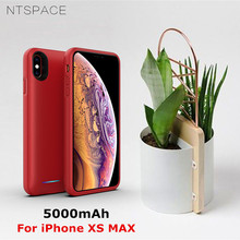 NTSPACE Ultra Thin Backup Power Bank Cover For iPhone XS MAX Case 5000mAh Portable Back Clip Battery Charger Cases