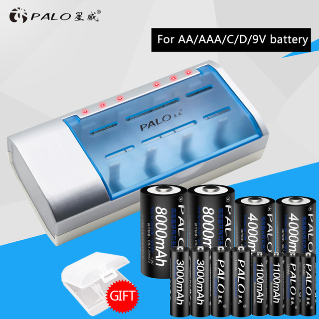 Palo New Type Quick Battery Charger For Aa Aaa C D 9v With 4x1100aaa 4x3000aa 4x4000c 4x8000d Rechargeable Batteries