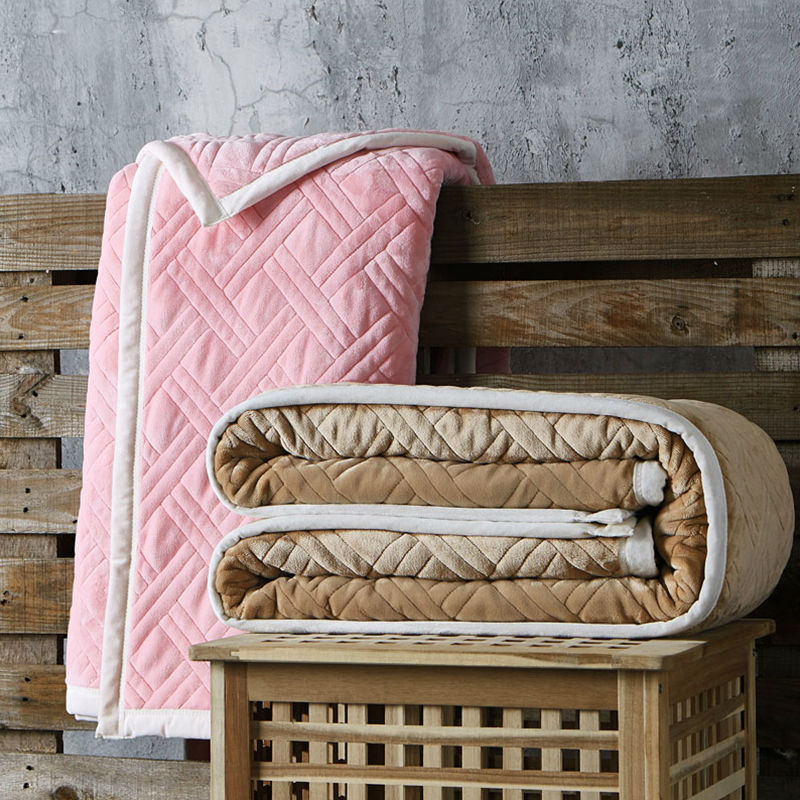 new super soft coral fleece upset composite blanket king queen size plaid solid color sofa blankets - King Size Blanket