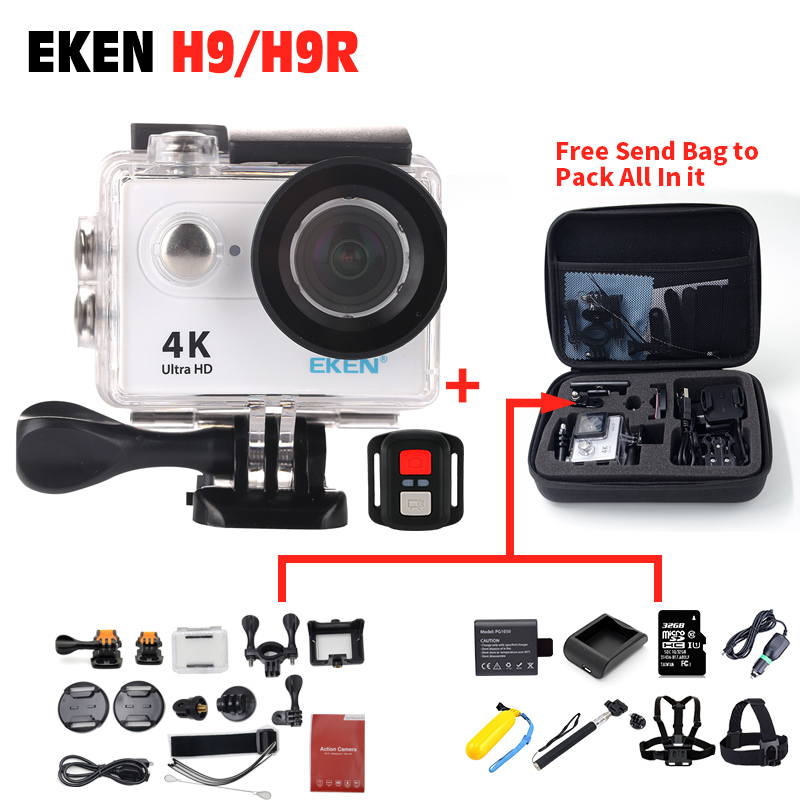 100% Original EKEN H9R remote control camera 4K wifi Ultra HD 1080p 60fps 170D waterproof Action camera sports mini cam 2017 arrival original eken action camera h9 h9r 4k sport camera with remote hd wifi 1080p 30fps go waterproof pro actoin cam