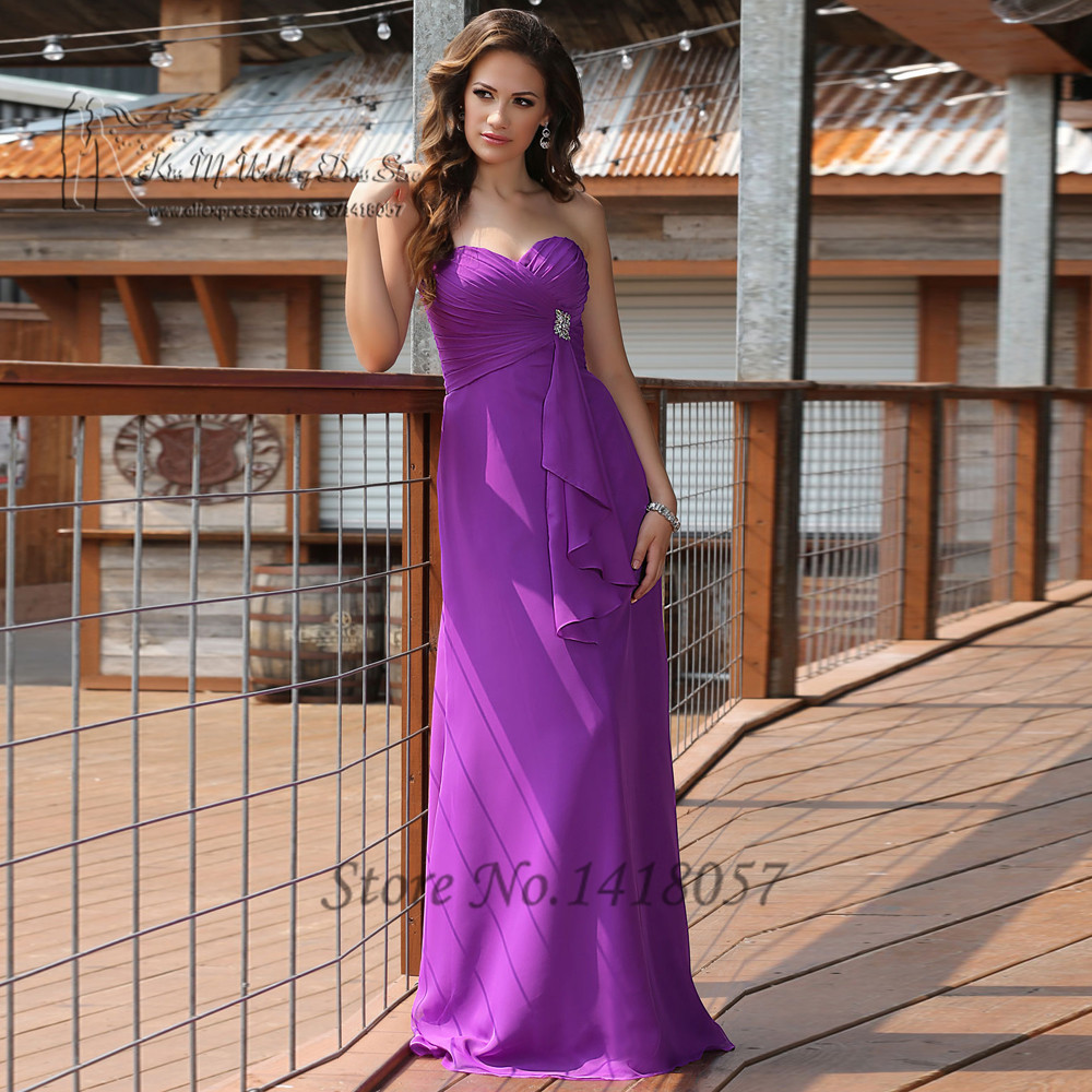 Cheap Purple   Bridesmaid     Dresses   Pleated Tassel Vestido de Festa de Casamento Brautjungfernkleid Long Wedding Party   Dress   Gowns
