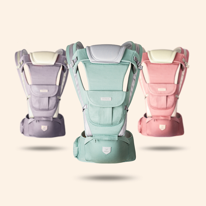 2019 Candy Color All Seansons Baby Carriers Spandex Breathable Kangaroo Hipseat Heaps With Sucks Ppad Baby