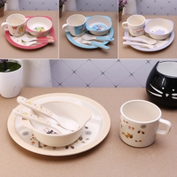 Baby Feeding Bowl Set Plate Forks Spoon Cup Dinnerware Set Baby Tableware